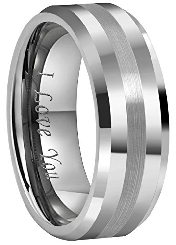 CROWNAL 6mm 8mm 10mm Tungsten Carbide Wedding Band Ring Engraved I Love You Men Women Brushed Strip Beveled Edge (8mm,13)