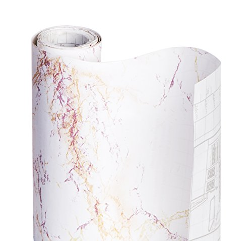DAZZ 8607700 Ivory Marble Adhesive Decorative Shelf Liner (Marble Solid)