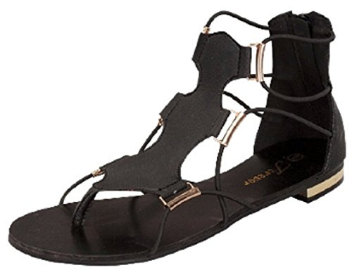 Forever Link Haley-30 Gladiator Sandal Gold Accents Black YQgOc
