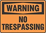 10''Hx14''W Black/Orange Aluminum WARNING NO TRESPASSING Admittance & Exit Sign