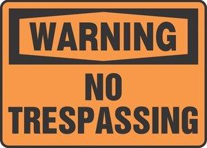 10''Hx14''W Black/Orange Aluminum WARNING NO TRESPASSING Admittance & Exit Sign