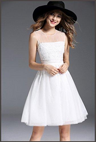 A Short line Scoop Gowns White cotyledon Sleeveless Dresses Women`s Neck Evening 5wUTX8x