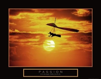 (22x28) Passion Hang Glider at Sunset Motivational Poster Print