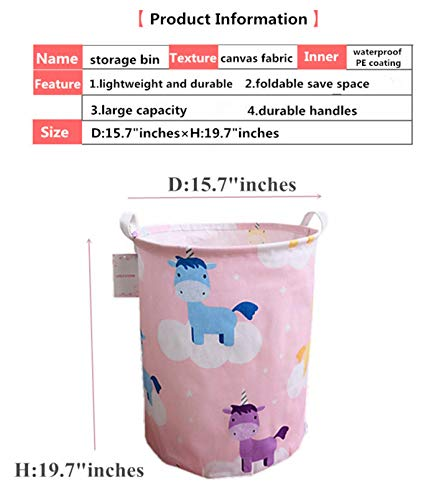 LEELI Laundry Hamper with Handles-Collapsible Canvas Basket for Storage Bin,Kids Room,Home Organizer,Nursery Storage,Baby Hamper,19.7/×15.7 Llama