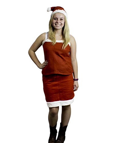 Mrs Santa Claus Christmas Adult Costume Outfit Set w/ Skirt, Tank Top & Hat (Mrs Christmas Outfit)