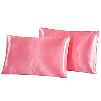 LOVE(TM)2pc New For Skin & Hair Health,Soft Hypoallergenic, King Silky Satin Pillow Case,Black