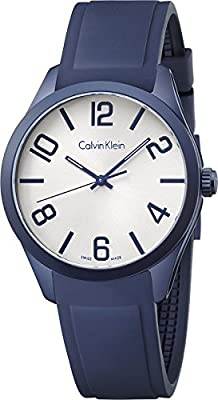Calvin Klein K5E51XV6 White Dial Blue Rubber Men's Watch
