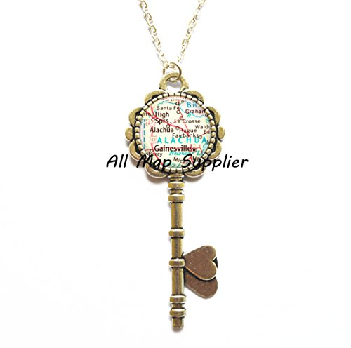 Charming Key Necklace,Gainesville, Florida map Key Pendant, Gainesville Key Necklace, Gainesville map Key Pendant, Gainesville Key - Gainesville Glasses Fl