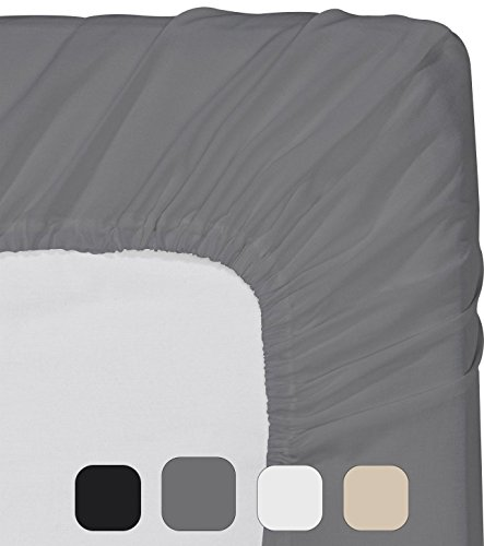 Utopia Bedding Fitted Sheet (Queen - Grey) - Deep Pocket Brushed Microfiber, Breathable, Extra Soft and Comfortable - Wrinkle, Fade, Stain and Abrasion Resistant - Extra Deep Pocket Bed Sheets
