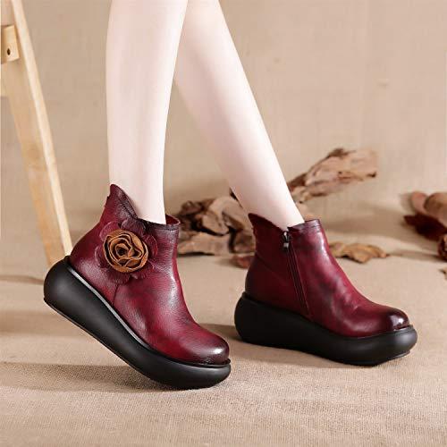 De Para Rojo Fuxitoggo Plataforma Tamaño 39 Cremallera Zapatos Sw7xg75n