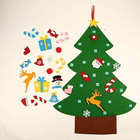Ingzy 3FT DIY Felt Christmas Tree Set 26 Detachable Ornaments Year Xmas Gifts Kids Door Wall Hanging Decor