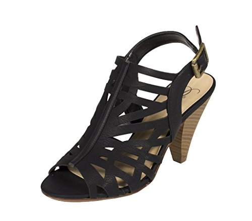 Ankle Strap Faux Wood - Delicious Women's Bolden Cut Out Peep Toe Stacked Faux Wood Heel and Ankle Buckle Strap Sandal, black nubuck leatherette, 6 M US
