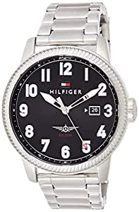 Tommy Hilfiger Men's Black Dial Stainless Steel Band Watch - 1791312