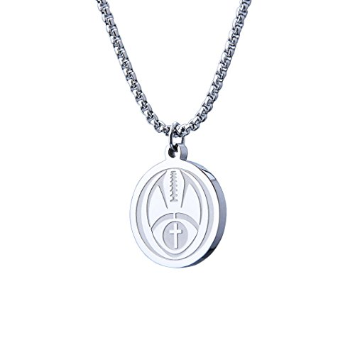 (Wolentty Football Cross Medal Necklace Engraved Inspirational Luke Bible Stainless Steel Athletes Gift for Boys )
