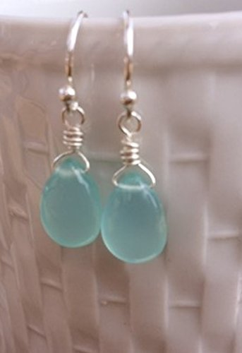 Sterling Silver Aqua Blue Chalcedony Earrings by Vintagerelics