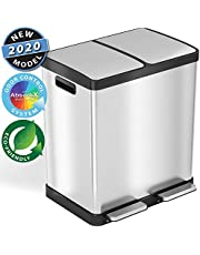 iTouchless SoftStep Stainless Steel Step Trash Can with Odor Control System, 50 Liter Pedal Garbage Bin for Kitchen, Office, Home