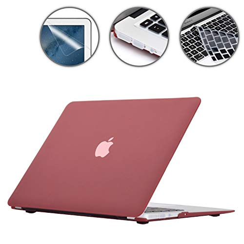 Applefuns A1466/A1369 Models of 13 Inch MacBook Air Case, Keyboard Cover Skin, Screen Protector, Dust Plug 4in1 Laptop Accessory Kit – Wine Red