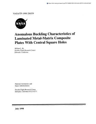 Anomalous Buckling Characteristics of Laminated Metal-Matrix Composite Plates with Central Square Holes (Plate Matrix)