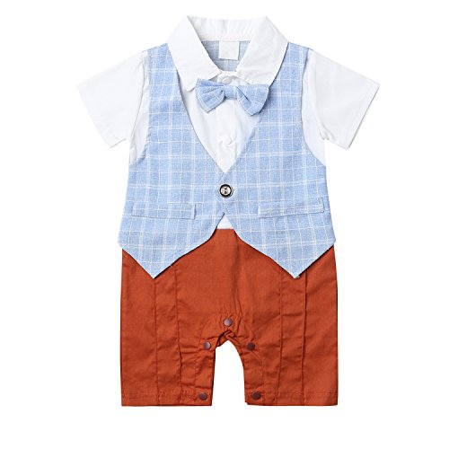 Baby Boy Suit Gentleman Vest Toddler Short Sleeve