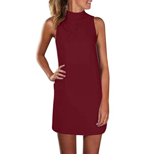 Cocktail Mini Top Dress Donna Sleeveless solido Camicetta Canotte Straight Angelof Summer Party Evening Chic Vino 7aXgZ