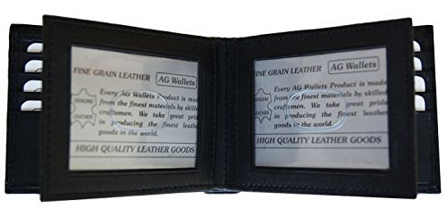 AG Wallets Men's Bifold Leather Wallet With Double Center Flap And 3 ID Windows Center Flap