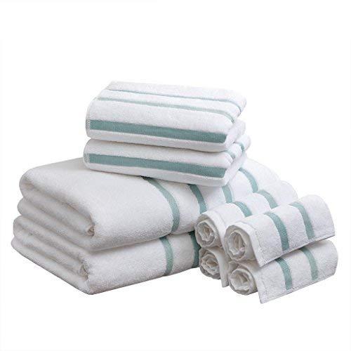 Comfort Spaces Cotton 8 Piece Bath Towel Set Striped Ultra Soft Hotel Quality Quick Dry Absorbent Bathroom Shower Hand Face Washcloths, 0, Aqua