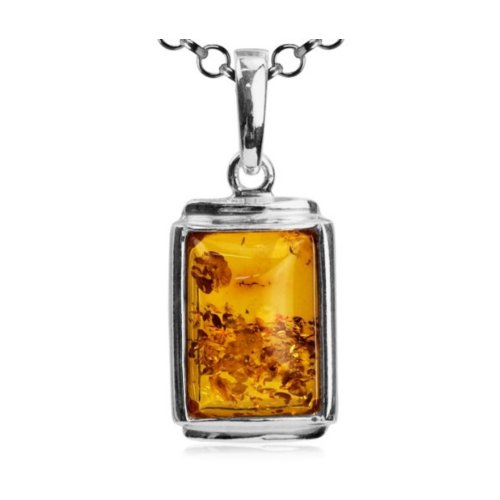 Amber Sterling Silver Rectangular Pendant Rolo Chain 18