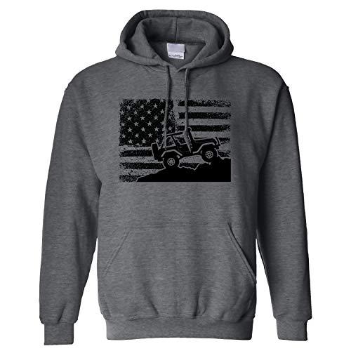American US Flag 4X4 Off-Road on a Dark Heather Hoodie