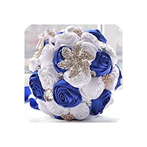 8 Colors Gorgeous Wedding Flowers Bridal Bouquets Artificial Wedding Bouquet Crystal Sparkle with Pearls 2019,Color As Picture6 18