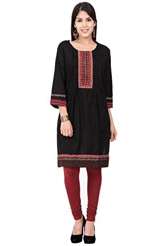 In-Sattva ethnicity Women's Indian Elegant Embroidered Yoke Pleated Kurta Tunic; XL; Black by In-Sattva