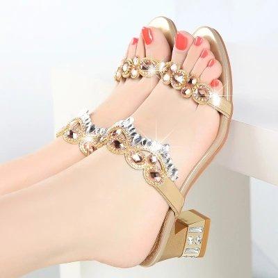 KPHY Zapatillas exteriores para talón medio, sandalias de cristal con talón rígido dorado