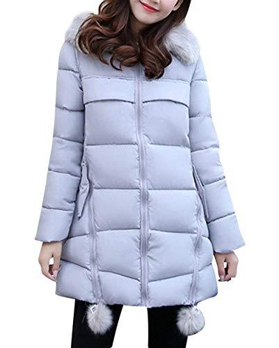 Invierno Chaqueta Outerwear Grau Casuales Espesar Con Modernas Outdoor Acolchado Parka Mujer Piel De Capucha Termica Elegantes Moda Acolchada Largos Abrigo Manga Larga nqRwBxY1d