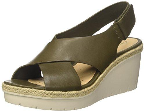 Clarks Damer Palme Glød Strappy Sandaler, Grøn Grønne (khaki Læder)