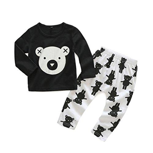 Gbell Newborn Infant Baby Boys Girls Cartoon Print Tops Shirt Print Pants 2Pcs Outfits (6M)