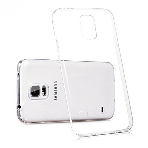 iCoverCase Compatible with Samsung Galaxy S5 Case, Ultra-Thin Silicon Back Cover Clear Plain Lightweight Protective Soft TPU Rubber Skin Case for Samsung Galaxy S5 i9600 ()