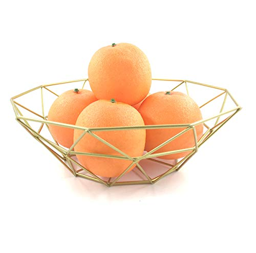 GOLDCHEE Creative gold Iron Fruit Bowl Countertop Storage Basket Dish Fruit Vegetables Storage Basket for Kitchen Countertop (C)