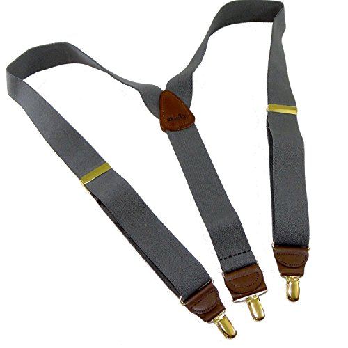 Holdup Suspender Company Slate Grey Men's Y-back Clip-on Suspenders in 1 1/2'' width featuring Patented No-slip Gold-Tone Clips by Hold-Up Suspender Co.