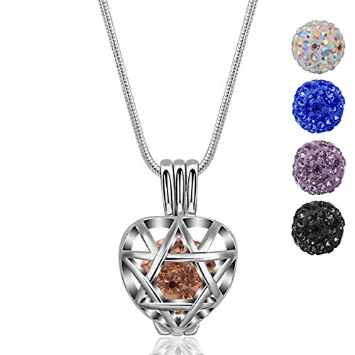"- INFUSEU Heart Pendant Necklace Star of David Locket with 5 PCS Cubic Zirconia Beads and 24"" Snake Chain"