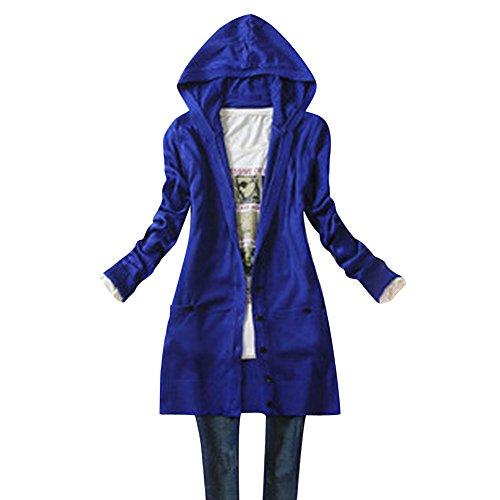 UEB レディース カーディガン カジュアル式 長袖 ニット コート ハット付き 秋物 フリーサイズ 5色 (サファイア色)