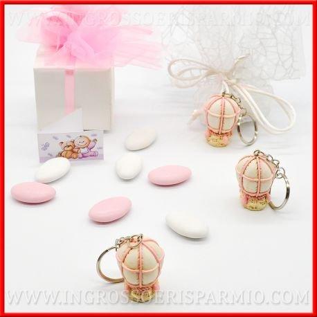 Colgante llavero de resina pintada a forma de globo con balón binaco y detalles de color rosa, completo de gancho de metal de femminuccia–Bomboniere bautizo, nacimiento, Bautizos, primer cumpleaños