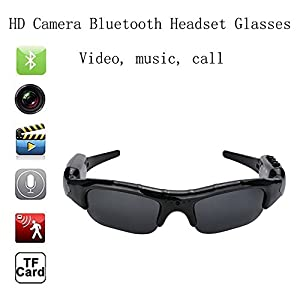 Bluetooth Sunglasses with Camera SD Card Solt HD Video Recorder Camera Glasses for Android iPhone 5s 6 6s plus 7 Samsung Galaxy S5 S6 Edge S7 Edge S8 LG Smartphones Tablets iPad