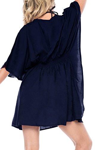 La Leela kimono de las mujeres del bikini encubrir ropa de playa t�nica bordada traje de ba�o traje de ba�o vestido Bleu