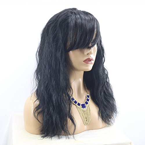 Price comparison product image MeiRun Human Hair Wig With Bangs Body Wave Lace Front Human Hair Wigs Virgin Hair Lace Front Wigs(16, NATURAL BLACK)