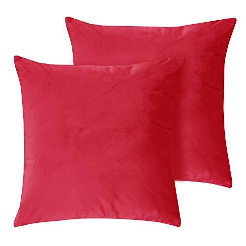 Deconovo Solid Velvet Luxurious Smooth Pillow Cases Square Red Cushion Covers for Sofa 18 x 18 Inch 2pcs