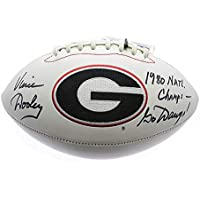 Vince Dooley Georgia Bulldogs Autographed Signed White Panel Football with 1980 Natl. Champs & Go Dawgs! Inscription - Sports… photo