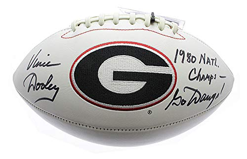 Vince Dooley Georgia Bulldogs Autographed Signed White Panel Football with 1980 Natl. Champs & Go Dawgs! Inscription - Sports Collectibles Authentic