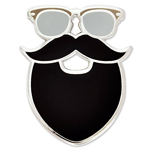 PinMart's Trendy Hipster Glasses Mustache and Beard Enamel Lapel - Mustaches Beards And Cool