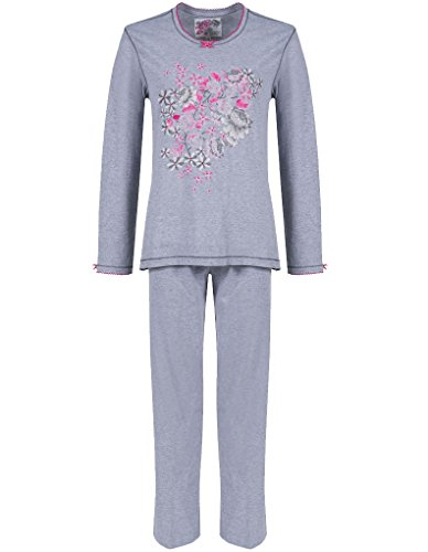 Pastunette 2062-366-2-959 Women's Baumwoll Pyjama PJ in Grau mit blumigem Motiv