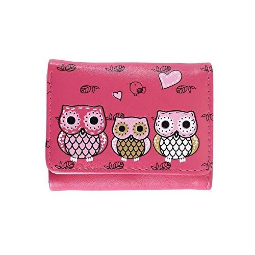 Cute Cartoon Women Wallet PU Leather Triple Fold Purse Small Short Wallet OG (Color - rose red)