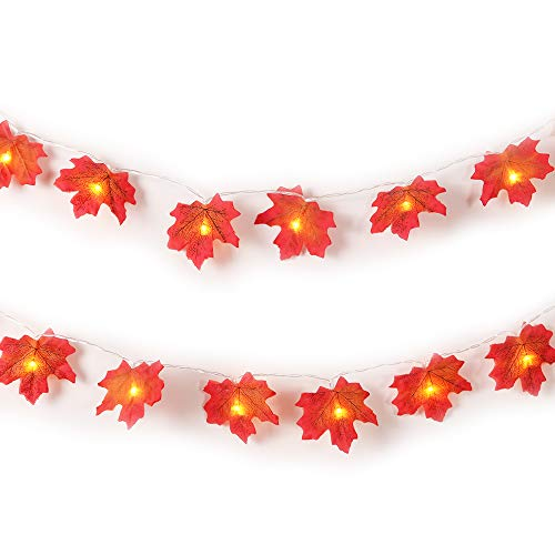 Autumn Fall Maple Leaves Light String Garland, Battery Powered Lighted 14.7ft with 40 Lights, Perfect Decoration for Autumn and Thanksgiving,Christmas,Birthday,Parties DIY (Warm white) (40 Lights)]()